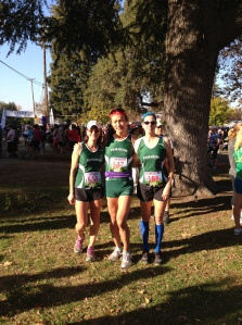 Louise, Riya, and Danielle before the race.